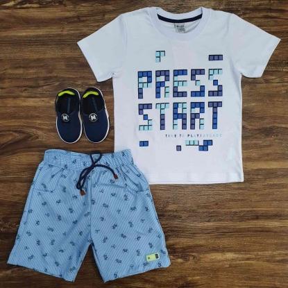 Camiseta Branca Press Start Com Bermuda Infantil