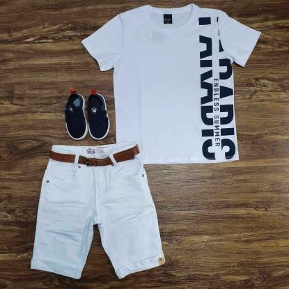 Camiseta Branca Summer com Bermuda Branca Infantil