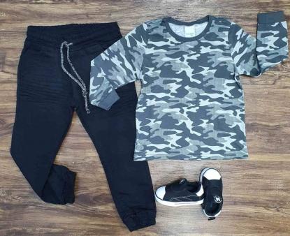 Camiseta Camuflada com Calça Jogger Infantil