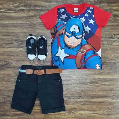 Camiseta Capitão América com Bermuda Preta  Infantil