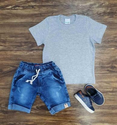 Camiseta Cinza com Bermuda Jeans Infantil