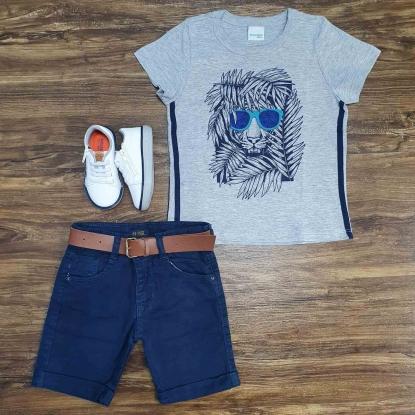 Camiseta Cinza Lion Com Bermuda Azul Infantil
