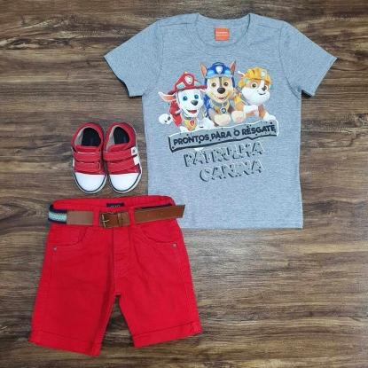 Camiseta Cinza Patrulha Canina com Bermuda Vermelha Infantil