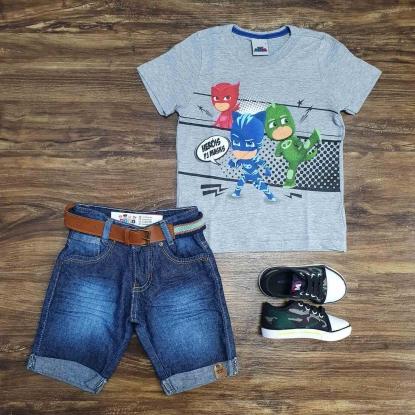 Camiseta Cinza PJ Masks com Bermuda Jeans Infantil
