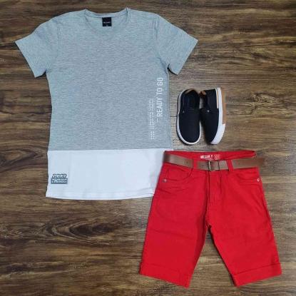 Camiseta Cinza Ready To Go com Bermuda Vermelha Infantil