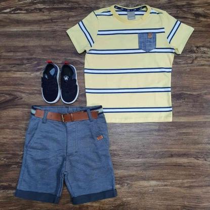 Camiseta com Bolso Amarela e Bermuda Cinza Infantil