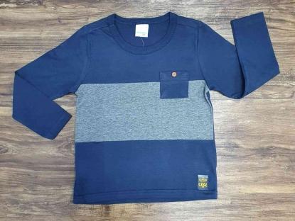 Camiseta Manga Longa Azul com Bolso Infantil