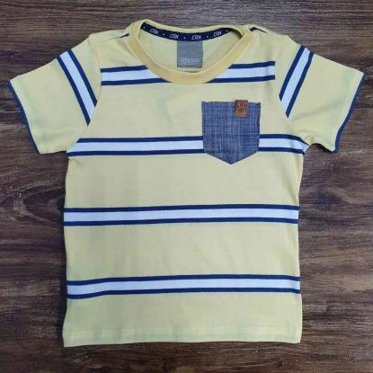 Camiseta com Bolso Listrada Amarelo e Branco Infantil