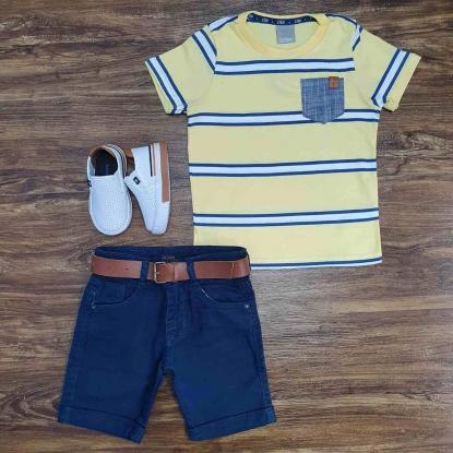 Camiseta com Bolso Listrada e Bermuda Jeans Infantil