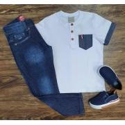 Camiseta com Bolso mais Calça Jeans Infantil