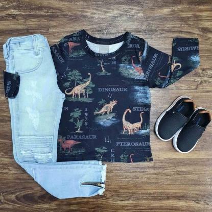 Camiseta Dinossauro com Calça Jeans Infantil