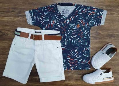 Camiseta Floral Azul com Bermuda Jeans Branca Infantil