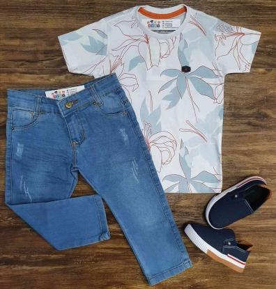 Camiseta Floral Branca com Calça Jeans Infantil
