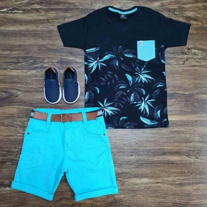 Camiseta Floral com Bermuda Azul Infantil