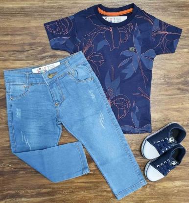 Camiseta Floral com Calça Jeans Clara Infantil
