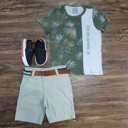 Camiseta Floral Verde com Bermuda Infantil