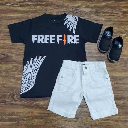 Camiseta Free Fire com Bermuda Branca Infantil