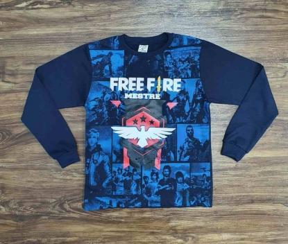 Camiseta Freefire Azul Marinho Infantil