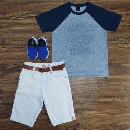 Camiseta Hawaii Beach Vibes com Bermuda Branca Infantil