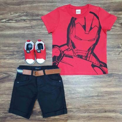 Camiseta Homem de Ferro com Bermuda Preta Infantil