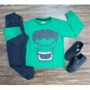 Camiseta Hulk Manga Longa com Calça Moletom Infantil