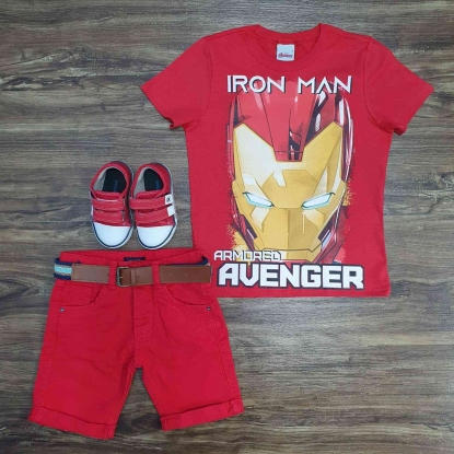 Camiseta Iron Man com Bermuda Vermelha Infantil