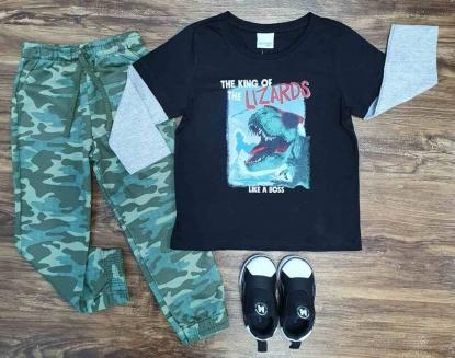Camiseta Lizards com Calça Camuflada Infantil