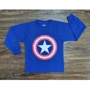 Camiseta Manga Longa Capitão América Infantil