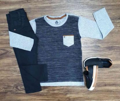Camiseta Manga Longa com Calça Jeans Preta Infantil