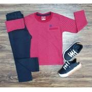 Camiseta Manga Longa com Calça Preta Infantil