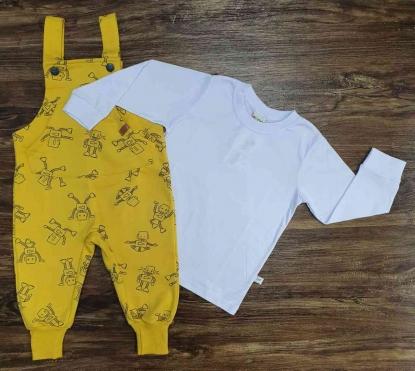 Camiseta Manga Longa com Jardineira Amarela Infantil