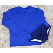 Camiseta Manga Longa UV Azul com Sunga