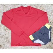 Camiseta Manga Longa UV Vermelha com Sunga