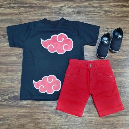 Camiseta Akatsuki Naruto com Bermuda Vermelha Infantil