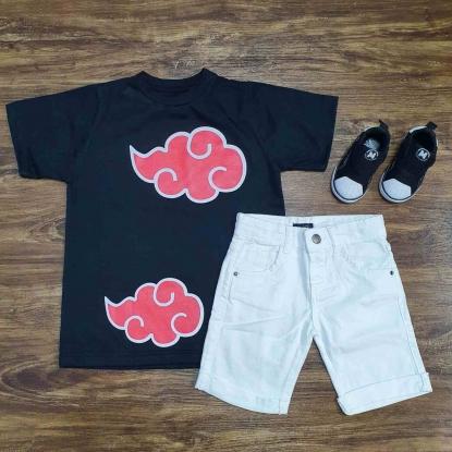 Camiseta Naruto Akatsuki Preta com Bermuda Branca Infantil