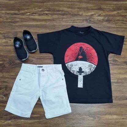 Camiseta Naruto com Bermuda Branca Infantil