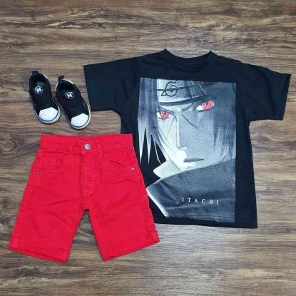 Camiseta Naruto Itachi com Bermuda Vermelha Infantil