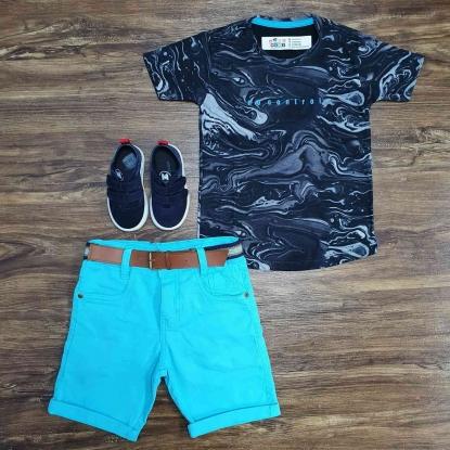 Camiseta No Control com Bermuda Azul Infantil