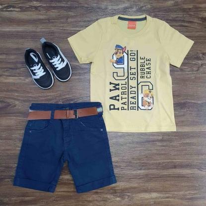 Camiseta Patrulha Amarela com Bermuda Infantil