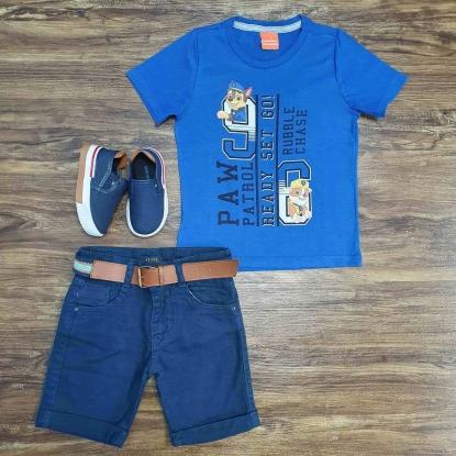 Camiseta Patrulha Canina com Bermuda Azul Infantil