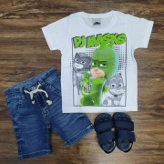 Camiseta PJ Masks com Bermuda Infantil