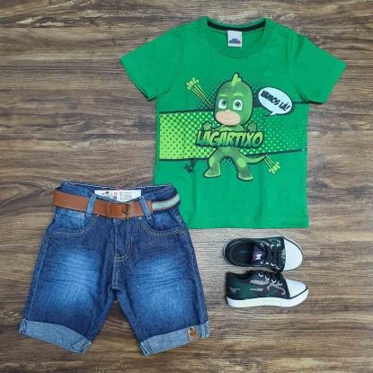 Camiseta PJ Masks com Bermuda Jeans Infantil