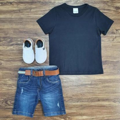 Camiseta Preta Básica com Bermuda Jeans Infantil
