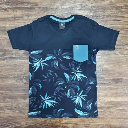 Camiseta Preta Floral com Bolso Infantil