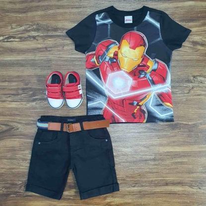 Camiseta Preta Homem de Ferro com Bermuda Infantil