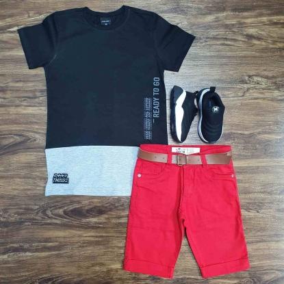 Camiseta Preta Ready to Go Com Bermuda Vermelha Infantil