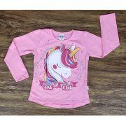 Camiseta Rosa Manga Longa Unicórnio