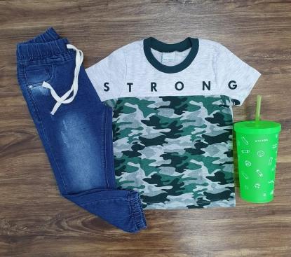 Camiseta Strong Camuflada com Calça Jogger Infantil