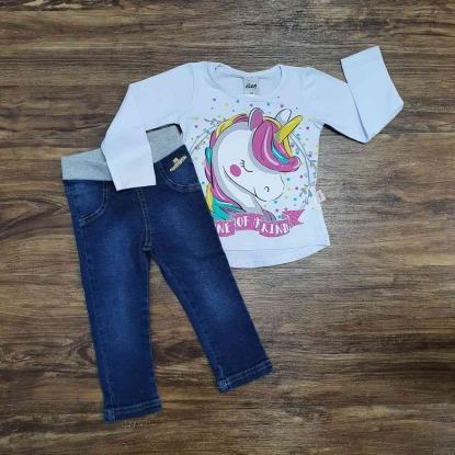 Camiseta Unicórnio com Calça Jeans Infantil