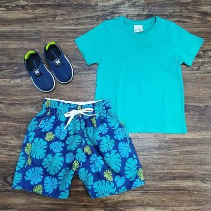 Camiseta Verde com Bermuda Tactel Floral Infantil